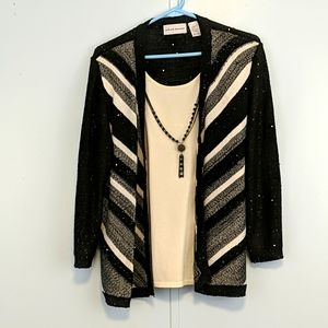 Alfred Dunner Black/White Sequin Cardigan Large